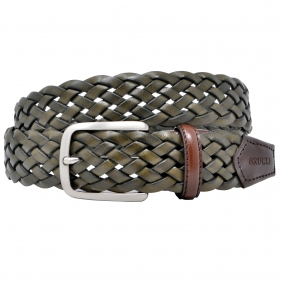 Braided leather belt red green