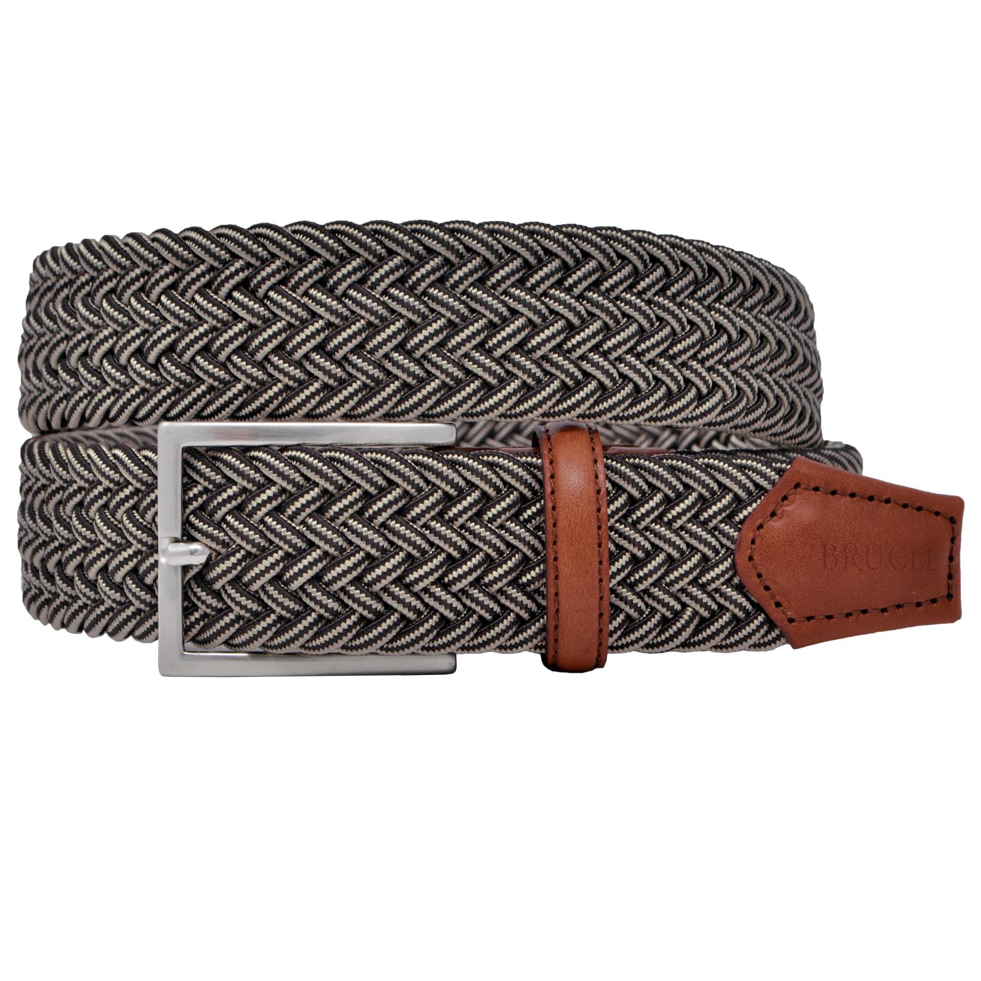 Braided elastic stretch belt brown