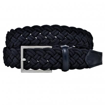 Braided elastic stretch belt blue navy