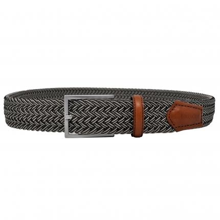 Cintura intrecciata elastica marrone melange