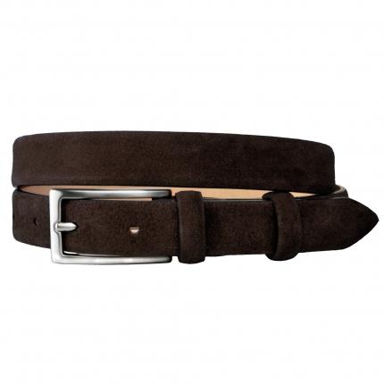 women suede belt dark brown
