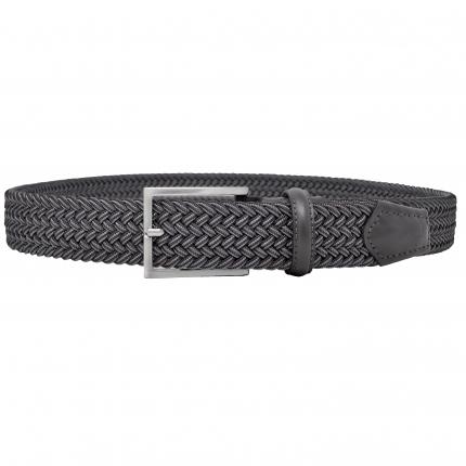 Braided elastic stretch belt grey