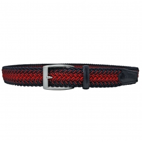 Braided elastic belt blue red