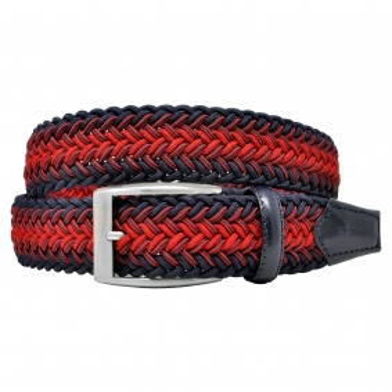 Cintura elastica intrecciata blu e rossa