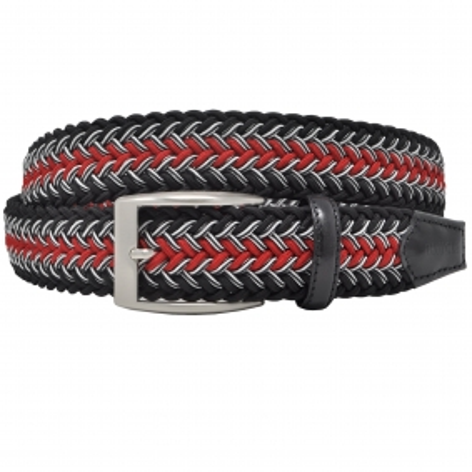 Braided Elastic Belt black red