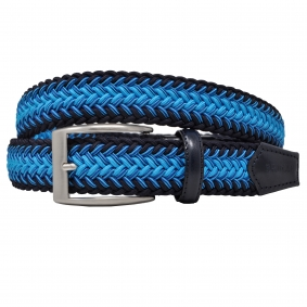 Braided elastic belt blue and light blue