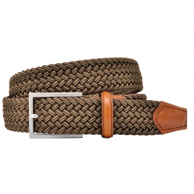 Braided elastic stretch belt beige brown