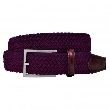 Braided elastic stretch belt bordeaux