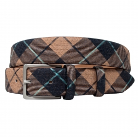Men's check tartan pattern brown beige leather belt