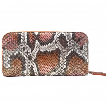 Portefeuille orange et blanche en python zippé, pour femme