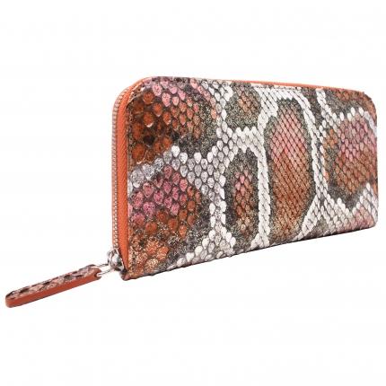 Python leder Damen-Geldbörse mit umlaufenden Reißverschluss orange weiß