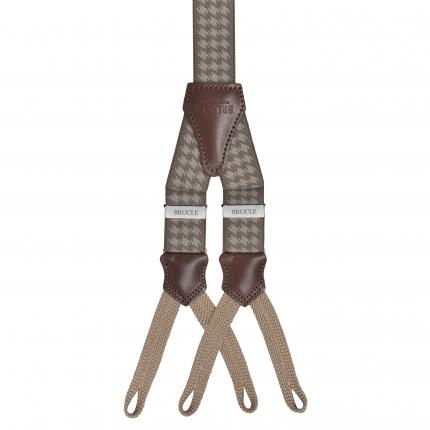 Bretelles fines pied de poule beige à tresses pour boutons