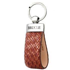 Genuine leather intrecciato keychain brown gold
