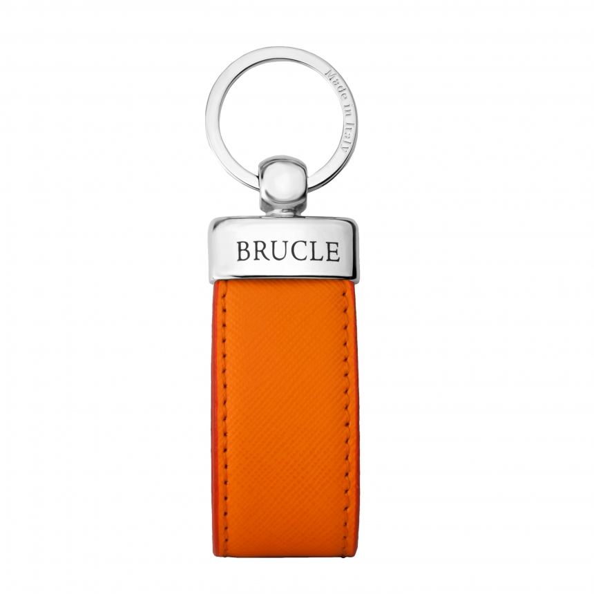 Genuine saffiano Leather keychain orange