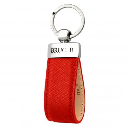 Porte clés rouge en cuir Saffiano