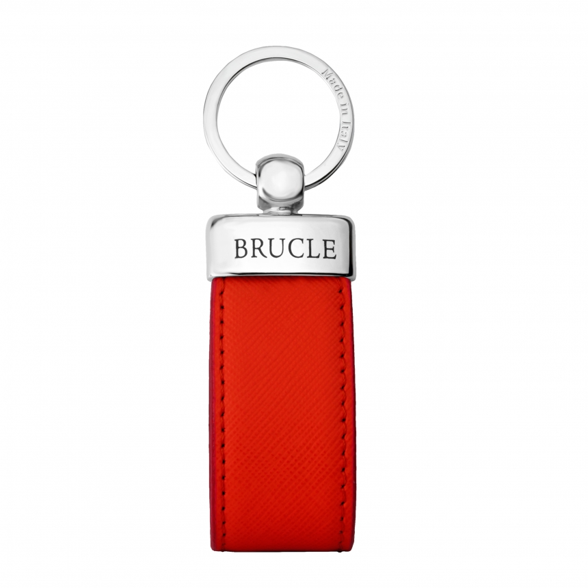 Genuine saffiano Leather keychain red