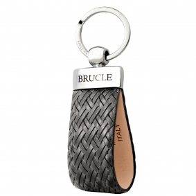 Genuine leather intrecciato keychain grey