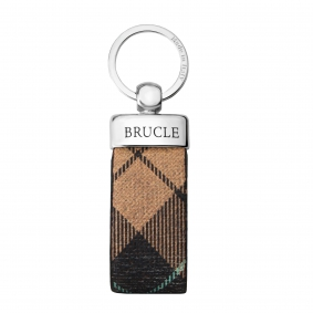 Genuine tartan Leather keychain beige tan