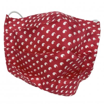 Masque filtrant rouge avec des motifs blancs, en soie