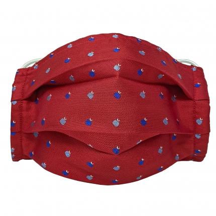 StyleMask Mascherina facciale filtrante in seta rossa fantasia mele