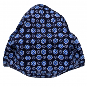 Fashion protective fabric mask, silk, blue with flower