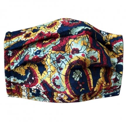 Masque filtrant rouge avec des motifs paisley cachemire, en soie