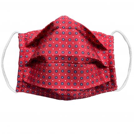 Masque en tissu filtrant en soie rouge fleurs