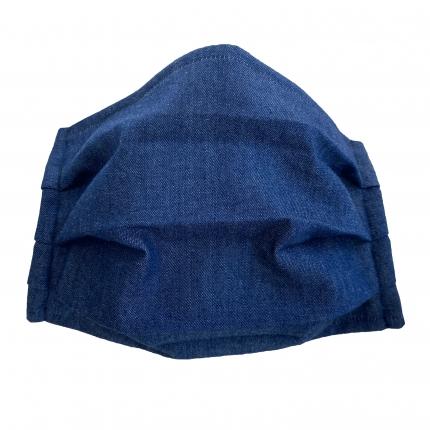 Masque en tissu filtrant en coton bleue jeans