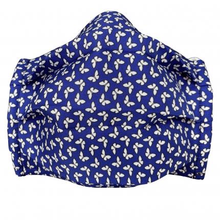 Wiederverwendbare stoffmaske seiden, blau fantasie schmetterling