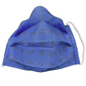 Fashion protective fabric mask, silk, blue horseshoe
