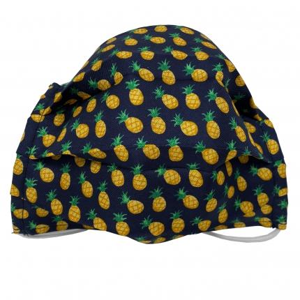 Masque filtrant enfant bleue avec ananas, en soie