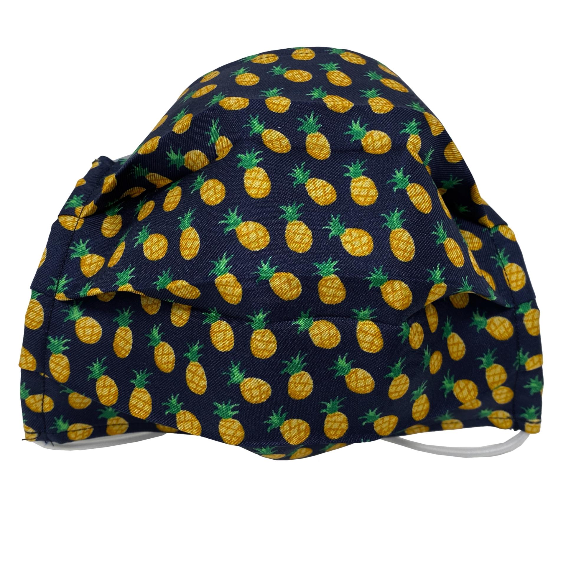 StyleMask Mascherina facciale bambino filtrante blu fantasia ananas, in seta