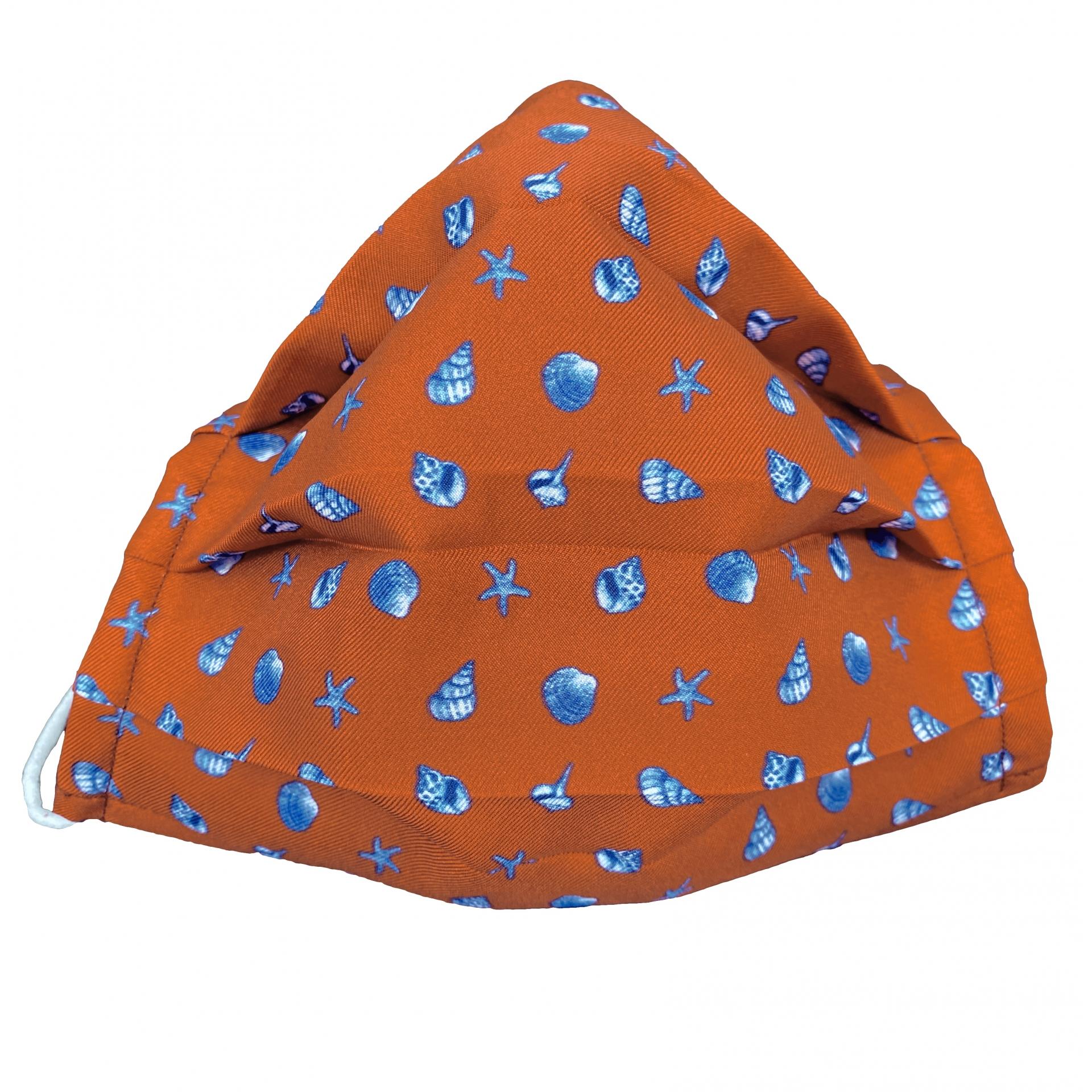 StyleMask Mascherina bambino copriviso filtrante arancione fantasia conchiglie