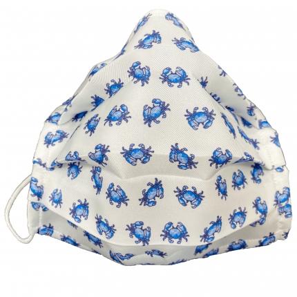 Masque pour enfant filtrant en soie avec crabes, blanche