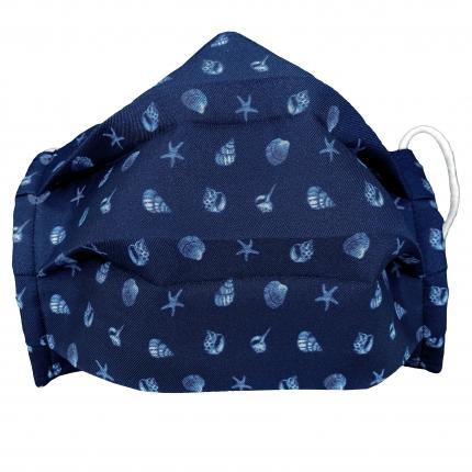 Masque filtrant enfant en soie avec coquilles, bleue