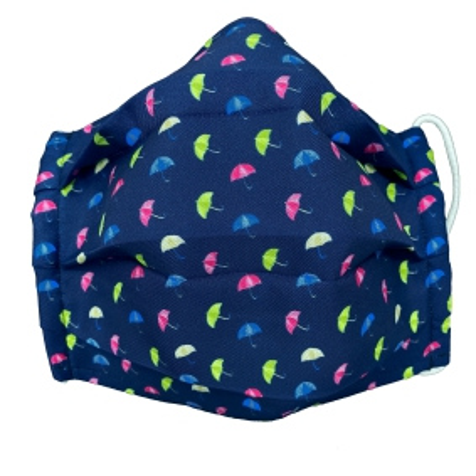 Masque enfant, filtrant en soie avec parasol, bleue