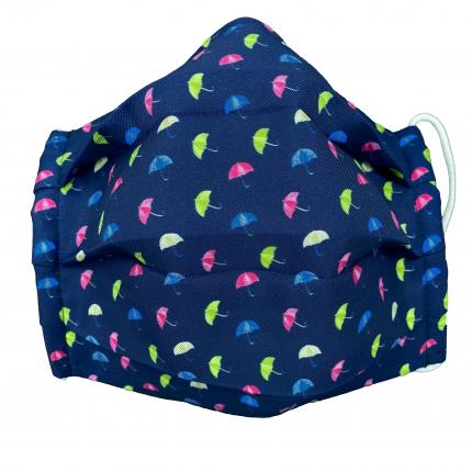 StyleMask Mascherina copri viso per bambino, filtrante blu fantasia ombrelloni
