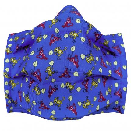 Masque filtrant enfant en soie avec singes, bleue