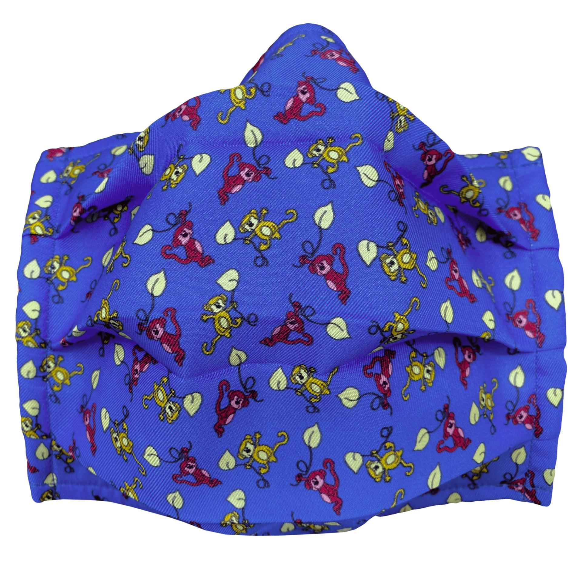 StyleMask Mascherina da bambino blu fantasia scimmie rosse e gialle