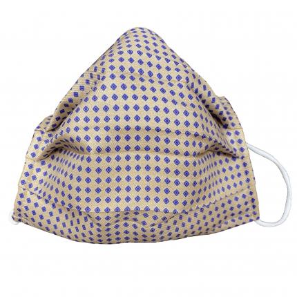 Masque filtrant beige avec motif géométrique en soie, réutilisables