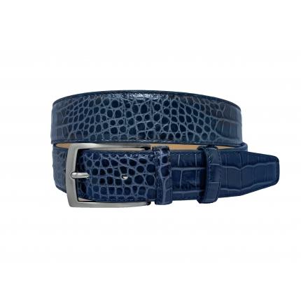 Ceinture bleu brillant poli imprimé crocodile