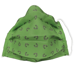 Fashion protective fabric mask, silk, green horseshoe