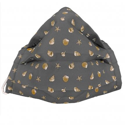 Masque filtrant en soie avec coquilles, gris