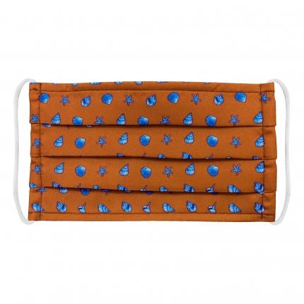 Masque filtrant pour enfant en soie avec coquilles, orange