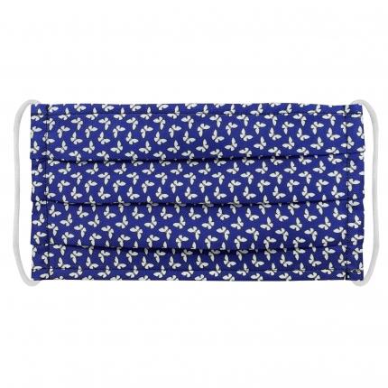 Masque filtrant bleue en tissu avec papillon