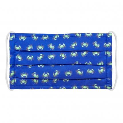 Wiederverwendbare stoffmaske für kinder, seiden, blau krabben