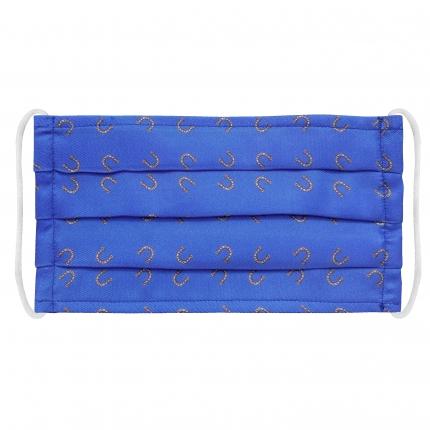 Masque filtrant en soie avec fer à cheval, bleue