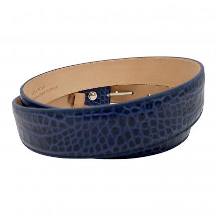 Belt croco print shiny blue
