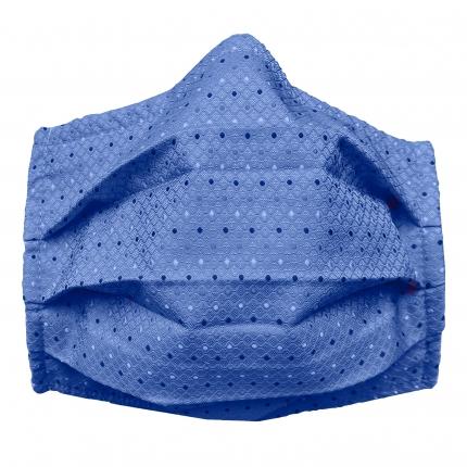 Masque en tissu filtrant en soie bleue à pois