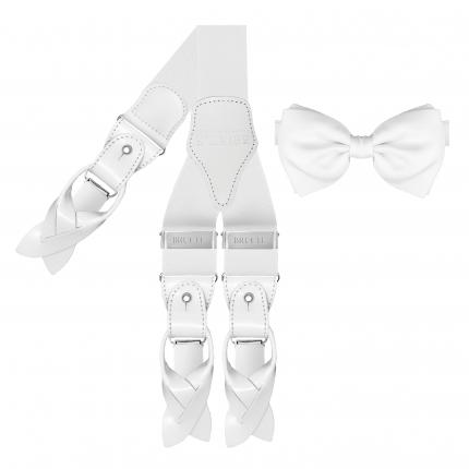 pre-tied bow tie + braces suspenders white